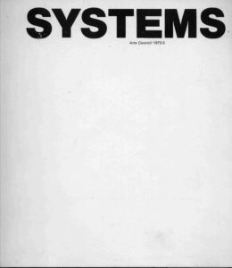 Cover for the Catalogue of the 1972-73 Systems touring exhibition
