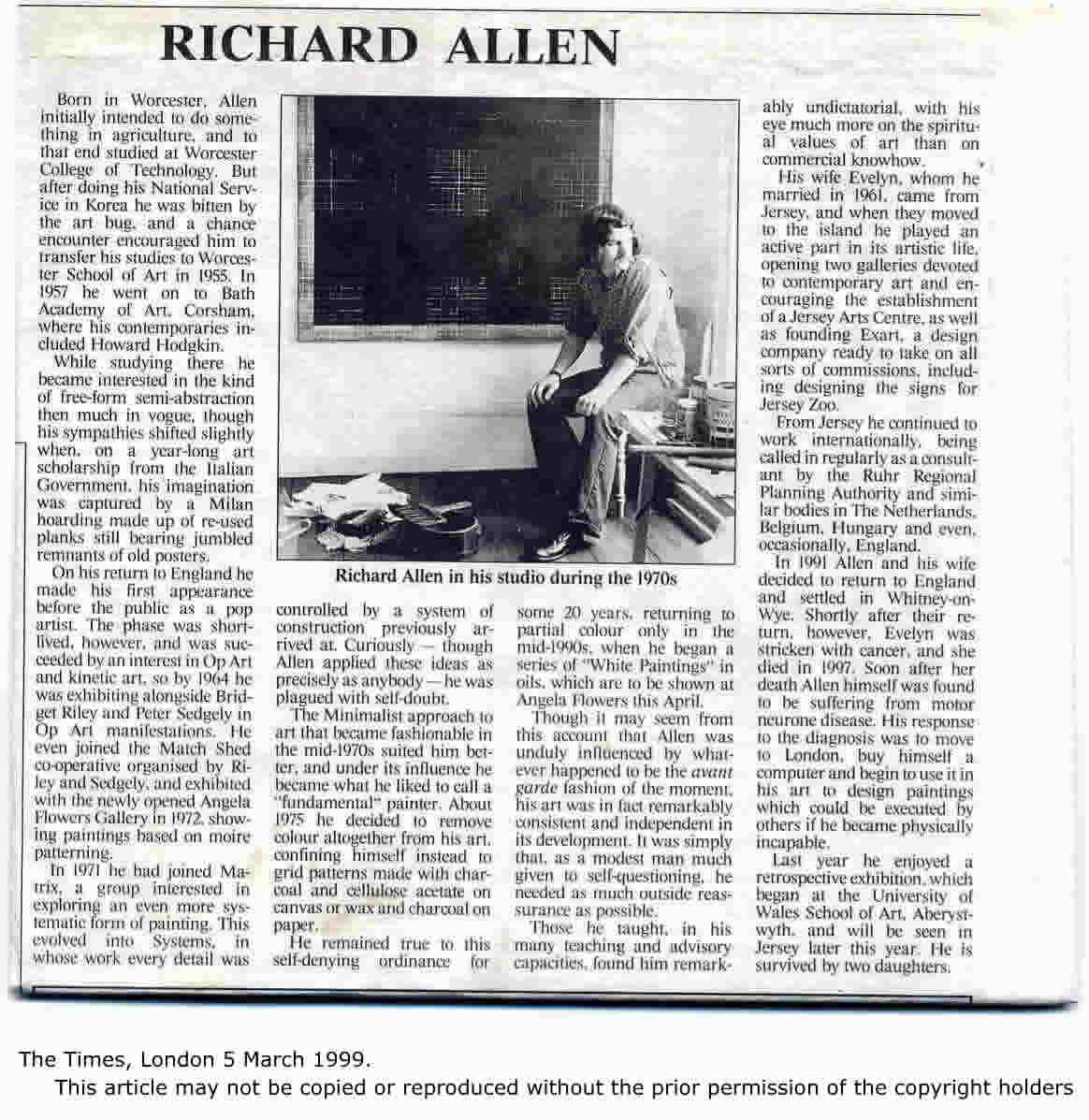 The Times Obituary 5th March 1999 – Richard Allen Artist