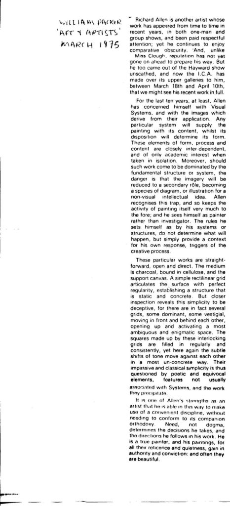 Review of Richard Allen. William Packer: Art and Artists 1975
